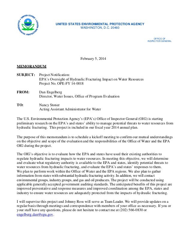 Memo from EPA Office of Inspector General (OIG) Convening Project to Examine Fracking & Water