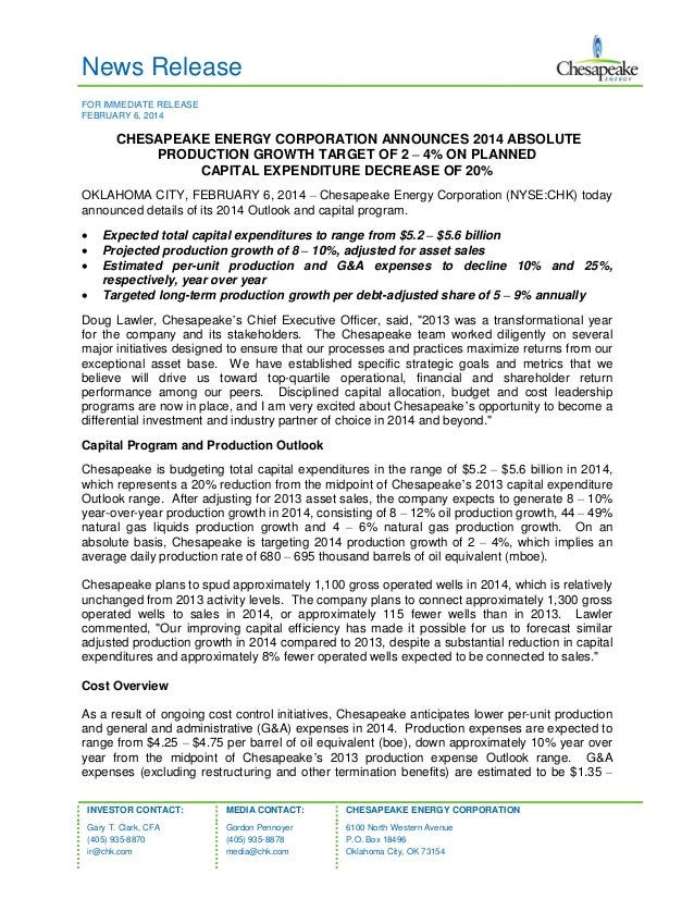 News Release FOR IMMEDIATE RELEASE FEBRUARY 6, 2014  CHESAPEAKE ENERGY CORPORATION ANNOUNCES 2014 ABSOLUTE PRODUCTION GROW...