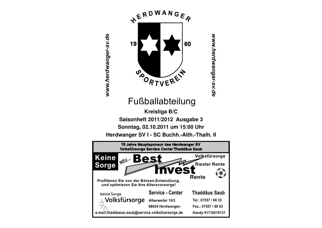 Kreisliga B/C    Saisonheft 2011/2012 Ausgabe 3    Sonntag, 02.10.2011 um 15:00 UhrHerdwanger SV I - SC Buchh.-Alth.-Thalh...