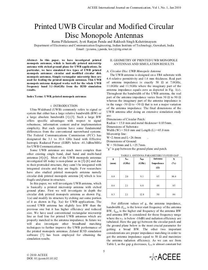 Printed UWB Circular and Modified Circular Disc Monopole Antennas