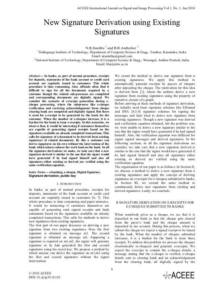 ACEEE International Journal on Signal and Image Processing Vol 1, No. 1, Jan 2010           New Signature Derivation using...