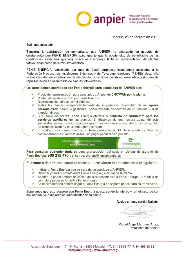 Acuerdo de colaboración ANPIER-FENIE ENERGÍA