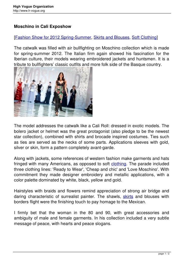 Moschino in Cali Exposhow