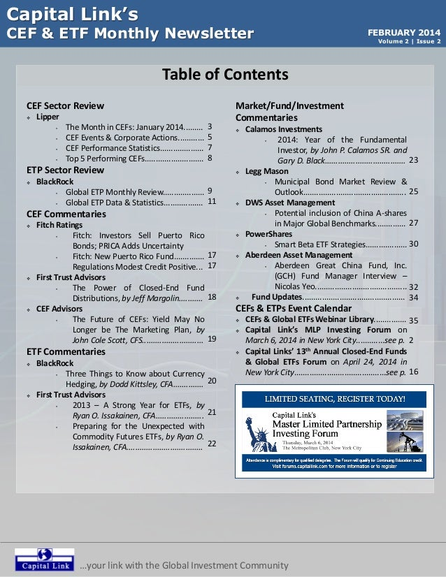 Capital Link's  CEF & ETF Monthly Newsletter  FEBRUARY 2014 Volume 2 | Issue 2  Table of Contents CEF Sector Review   Lip...