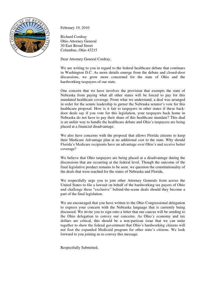 February 19, 2010  Richard Cordray Ohio Attorney General 30 East Broad Street Columbus, Ohio 43215  Dear Attorney General ...