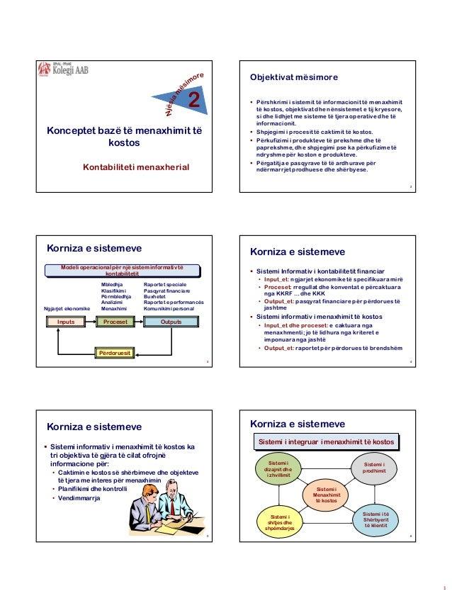 Objektivat mësimore  2   Përshkrimi i sistemit të informacionit të menaxhimit të kostos, objektivat dhe nënsistemet e tij...