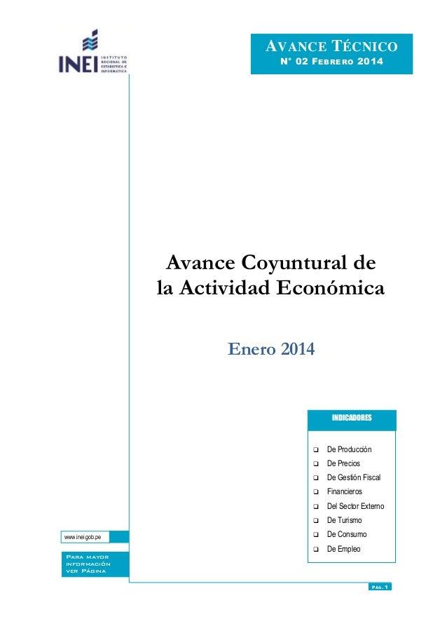 PÁG.1 Avance Coyuntural de la Actividad Económica Enero 2014  De Producción  De Precios  De Gestión Fiscal  Financiero...