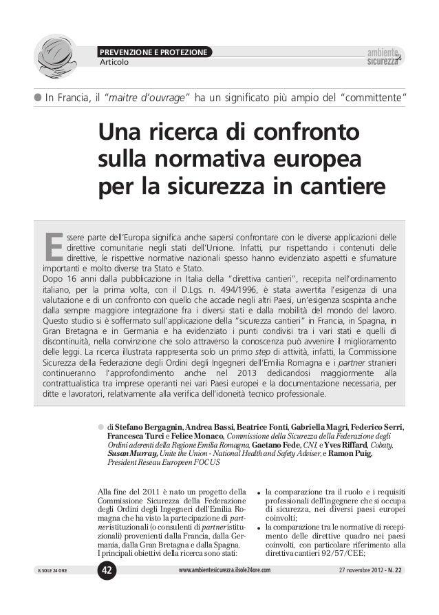 """PREVENZIONE E PROTEZIONE                  Articolol In Francia, il """"maitre d'ouvrage"""" ha un significato più ampio del """"com..."""