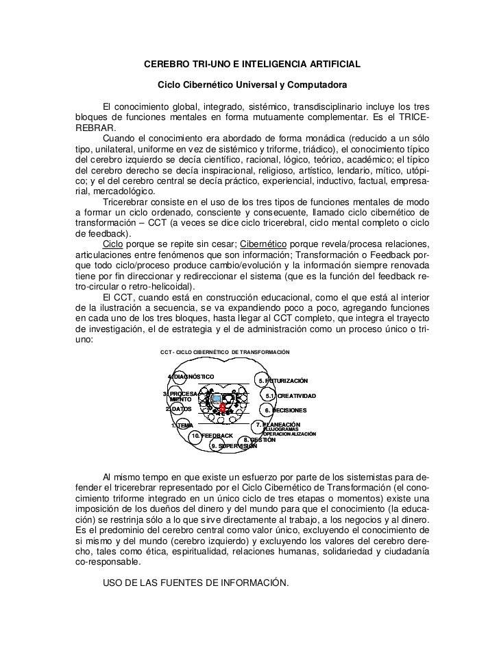 CEREBRO TRI-UNO E INTELIGENCIA ARTIFICIAL                     Ciclo Cibernético Universal y Computadora        El conocimi...