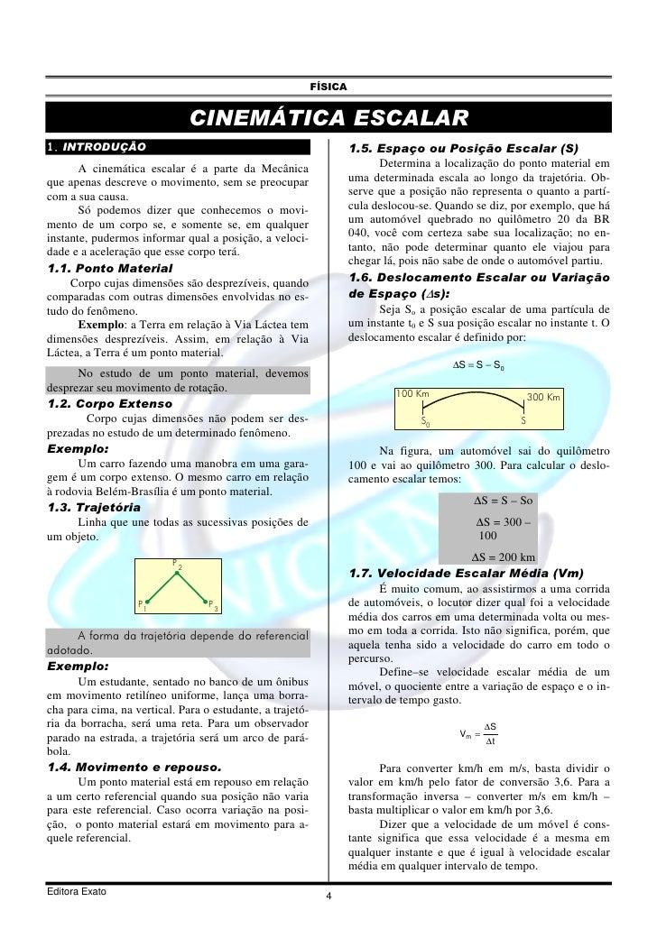 FÍSICA                                  CINEMÁTICA ESCALAR 1. INTRODUÇÃO                                                  ...