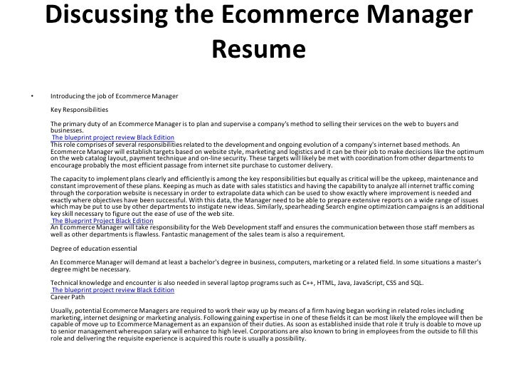 02 discussing the ecommerce manager resume