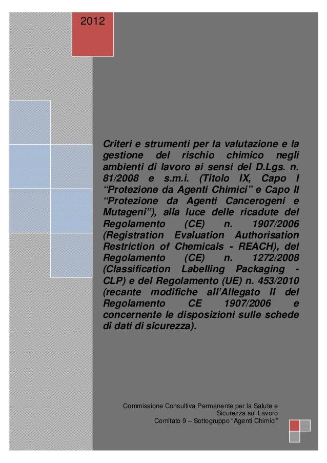 2012   Criteri e strumenti per la valutazione e la   gestione del rischio chimico negli   ambienti di lavoro ai sensi del ...