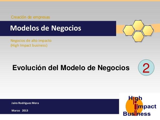 Creación de empresasModelos de NegociosNegocios de alto impacto(High Impact business) Evolución del Modelo de Negocios   2...
