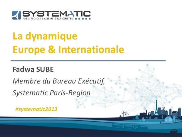 La dynamiqueEurope & InternationaleFadwa SUBEMembre du Bureau Exécutif,Systematic Paris-Region#systematic2013