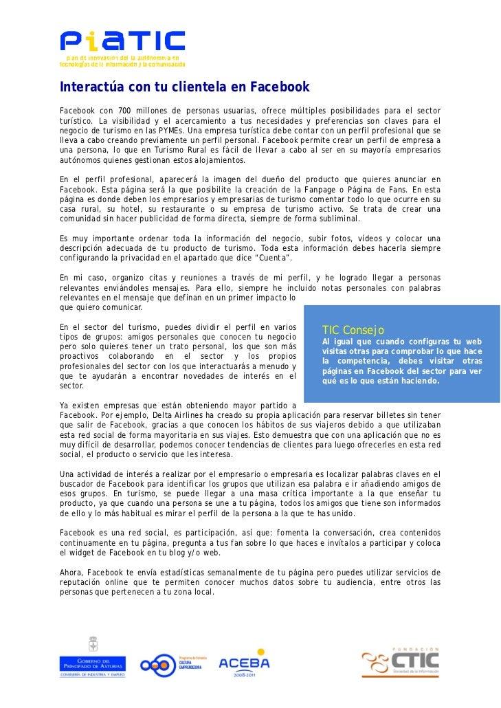 Documento PIATIC: Interactúa con tu cliente en Facebook