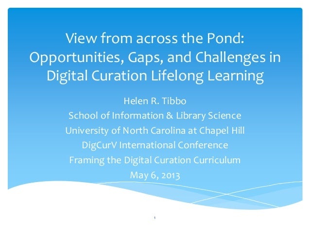 View from across the Pond:Opportunities, Gaps, and Challenges inDigital Curation Lifelong LearningHelen R. TibboSchool of ...