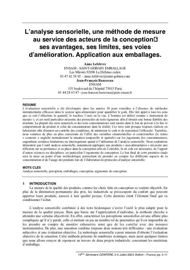 L'analyse sensorielle, une méthode de mesure       au service des acteurs de la conception :         ses avantages, ses li...