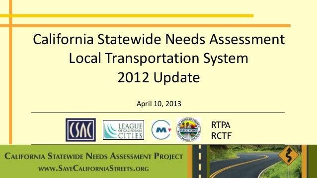 RTPARCTFCalifornia Statewide Needs AssessmentLocal Transportation System2012 UpdateApril 10, 2013