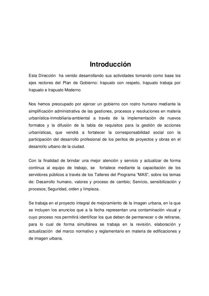 IntroducciónEsta Dirección ha venido desarrollando sus actividades tomando como base losejes rectores del Plan de Gobierno...