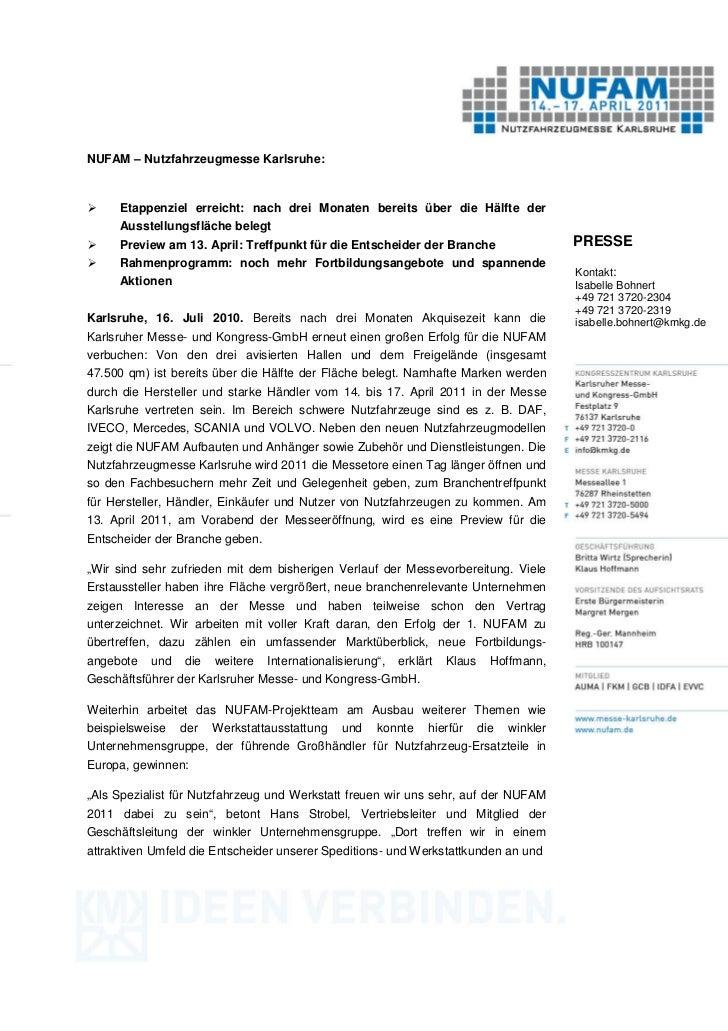 NUFAM – Nutzfahrzeugmesse Karlsruhe:     Etappenziel erreicht: nach drei Monaten bereits über die Hälfte der     Ausstellu...