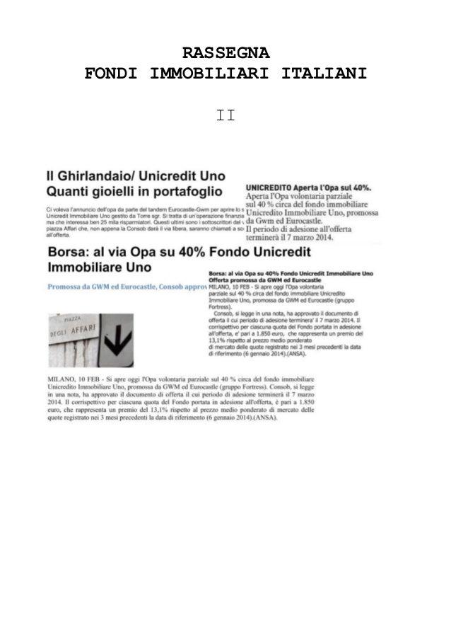 Fondo immobiliare UIU - OPA Fondo Immobiliare di Gwm Group e Eurocastle
