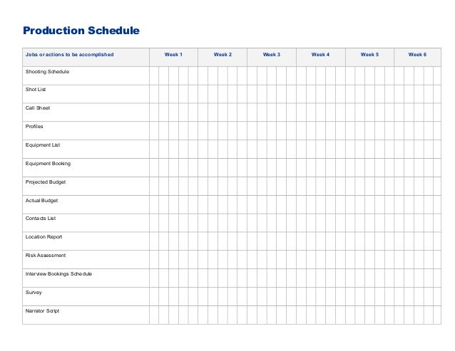 Production ScheduleJobs or actions to be accomplished Week 1 Week 2 Week 3 Week 4 Week 5 Week 6Shooting ScheduleShot ListC...