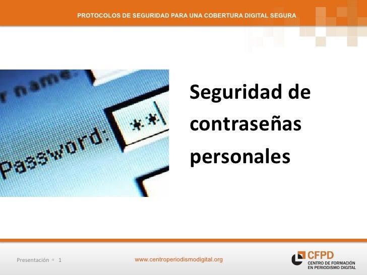 Protocolos de seguridad - Seguridad de contraseñas personales