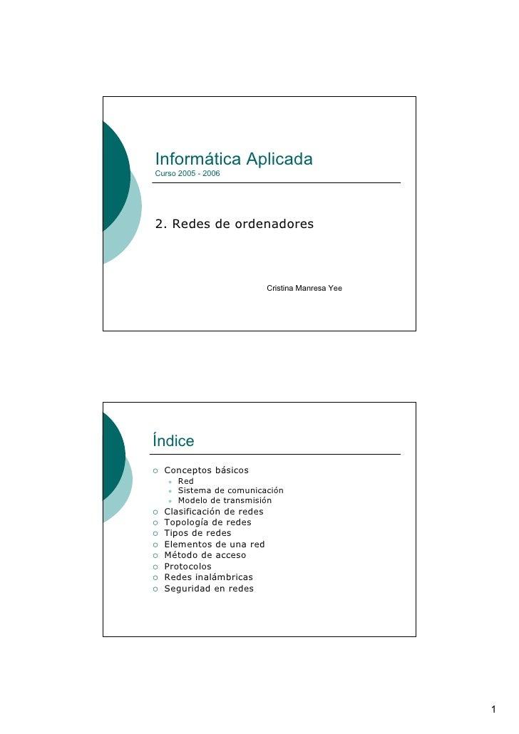 Informática Aplicada Curso 2005 - 2006     2. Redes de ordenadores                               Cristina Manresa Yee     ...