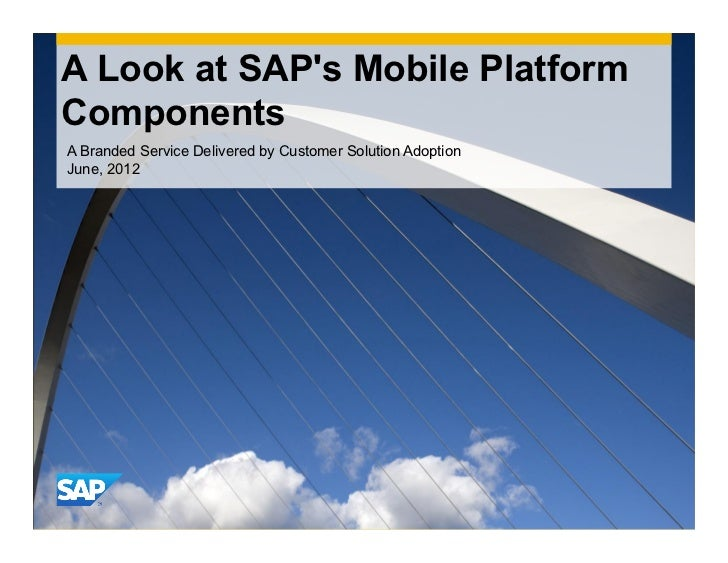 A Look at SAPs Mobile PlatformComponentsA Branded Service Delivered by Customer Solution AdoptionJune, 2012