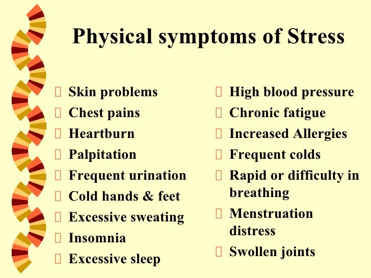 causes and symptoms of stress Stress is the body's reaction to any change that requires an adjustment or response learn common physical stress symptoms.