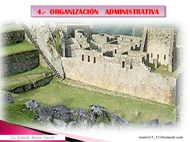 4.- ORGANIZACIÓN ADMINISTRATIVA4.- ORGANIZACIÓN ADMINISTRATIVA Lic. Rolando Ramos Nación roniro17_11@hotmail.com