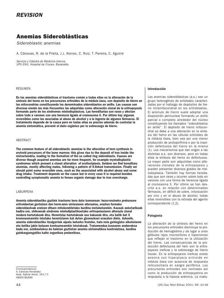 REVISION   Anemias Sideroblásticas Sideroblastic anemias  A. Cánovas, R. de la Prieta, J.J. Alonso, C. Ruiz, T. Pereira, C...