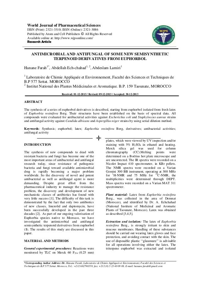 ANTIMICROBIAL AND ANTIFUNGAL OF SOME NEW SEMISYNTHETIC TERPENOID DERIVATIVES FROM EUPHORBOL