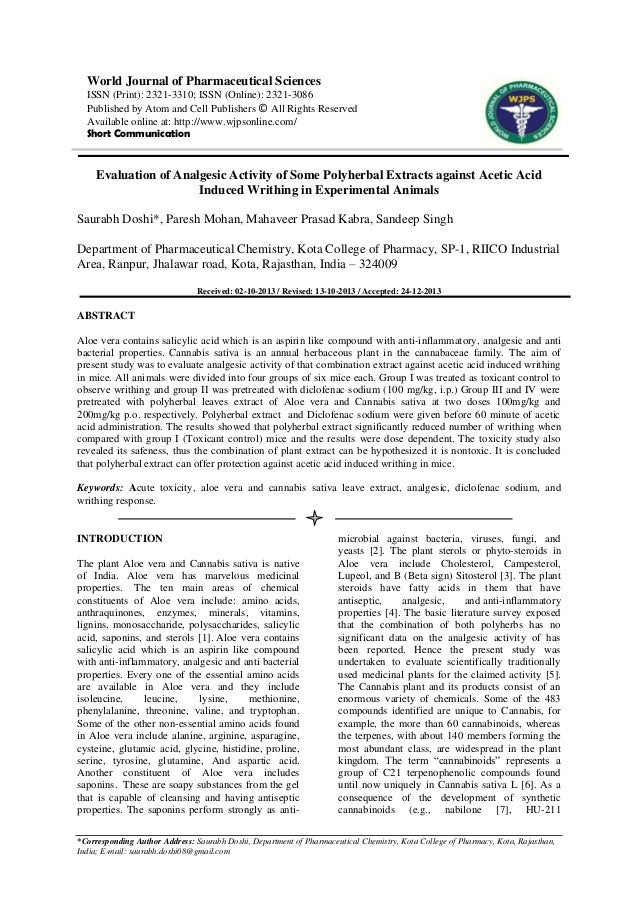 Evaluation of Analgesic Activity of Some Polyherbal Extracts against Acetic Acid Induced Writhing in Experimental Animals