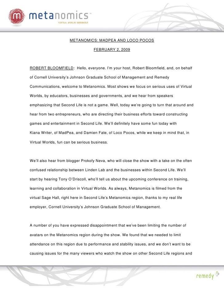METANOMICS: MADPEA AND LOCO POCOS                                      FEBRUARY 2, 2009    ROBERT BLOOMFIELD: Hello, every...