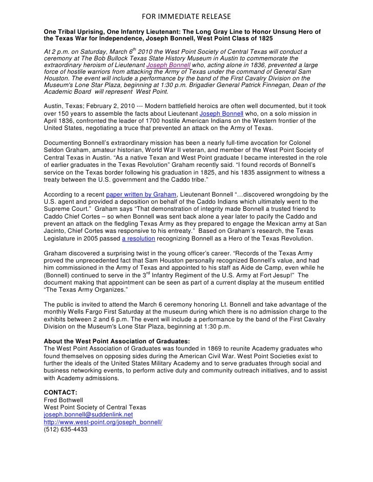 FOR IMMEDIATE RELEASE One Tribal Uprising, One Infantry Lieutenant: The Long Gray Line to Honor Unsung Hero of the Texas W...