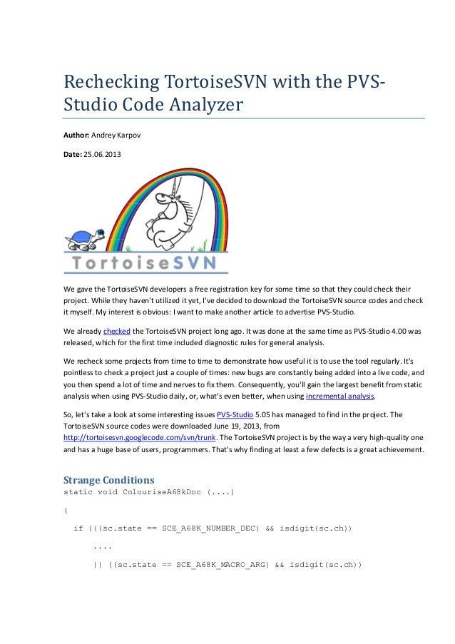 Rechecking TortoiseSVN with the PVS-Studio Code Analyzer