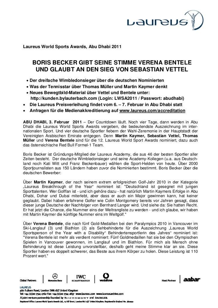 Laureus World Sports Awards, Abu Dhabi 2011     BORIS BECKER GIBT SEINE STIMME VERENA BENTELE      UND GLAUBT AN DEN SIEG ...