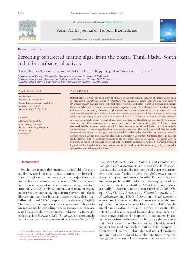 S140 Document heading Screening of selected marine algae from the coastal Tamil Nadu, South India for antibacterial activi...