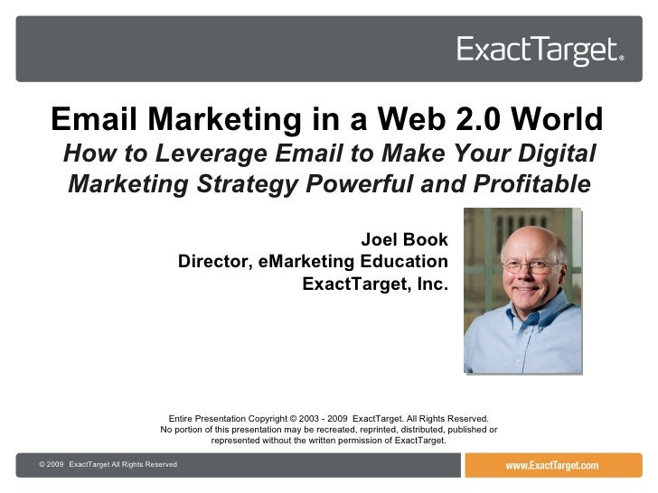 ExactTarget - Advanced Email Marketing by Joel Book