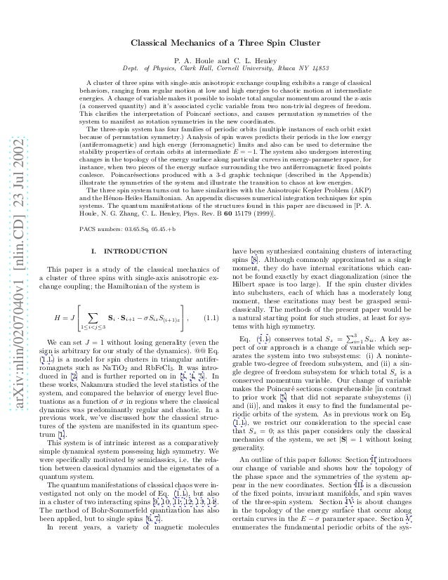 Classical Mechanics of a Three Spin Cluster