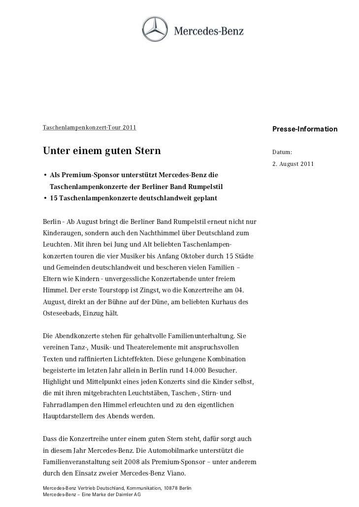 Taschenlampenkonzert-Tour 2011                                            Presse-InformationUnter einem guten Stern       ...