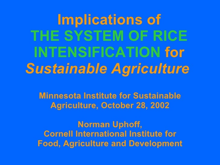 Implications of THE SYSTEM OF RICE INTENSIFICATION  for Sustainable Agriculture   Minnesota Institute for Sustainable Agri...