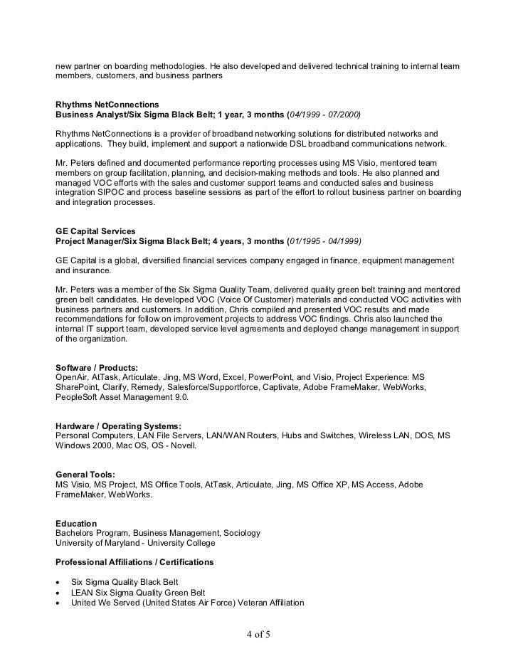 six sigma black belt resume