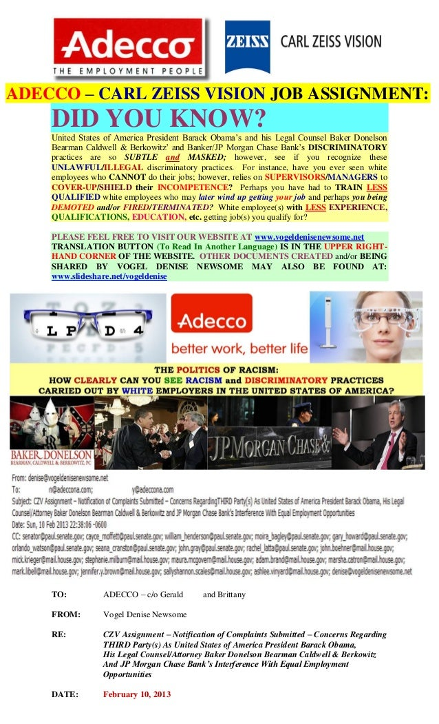 ADECCO – CARL ZEISS VISION JOB ASSIGNMENT:    DID YOU KNOW?    United States of America President Barack Obama's and his L...