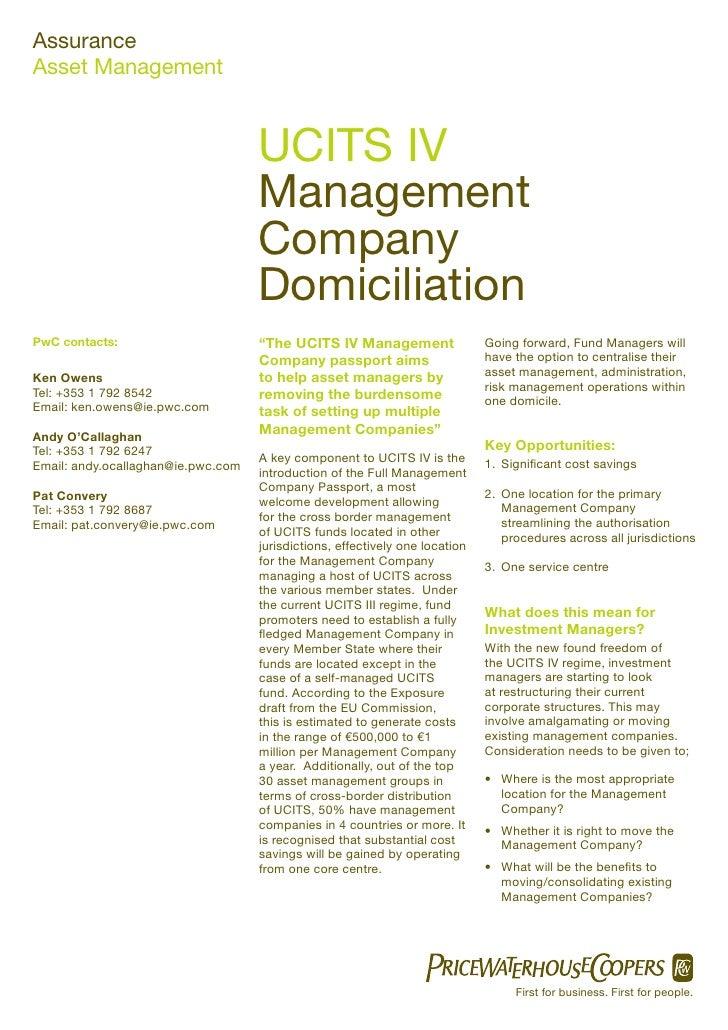 Assurance Asset Management                                       UCITS IV                                     Management  ...