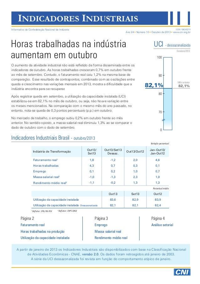INDICADORES INDUSTRIAIS Informativo da Confederação Nacional da Indústria  ISSN 1983-621X  Ano 24 Número 10 Outubro de 201...