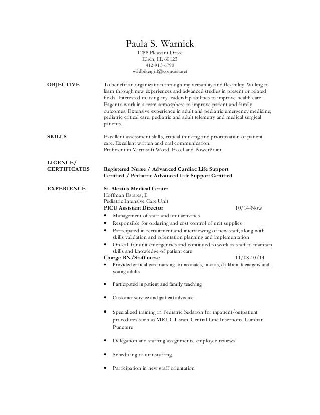 pediatric nurse resume - Icu Nursing Resume
