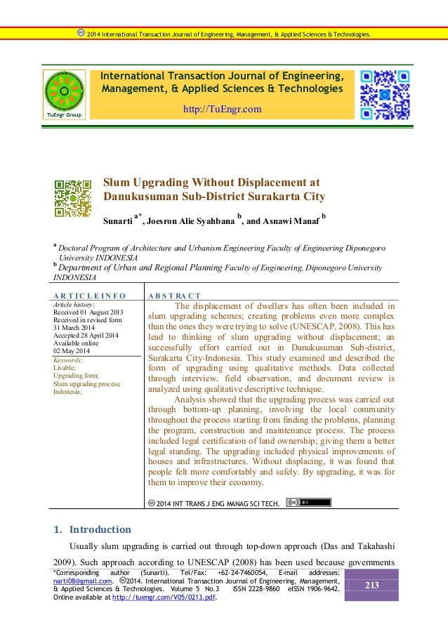 International Transaction Journal of Engineering, Management, & Applied Sciences & Technologies http://TuEngr.com Slum Upg...