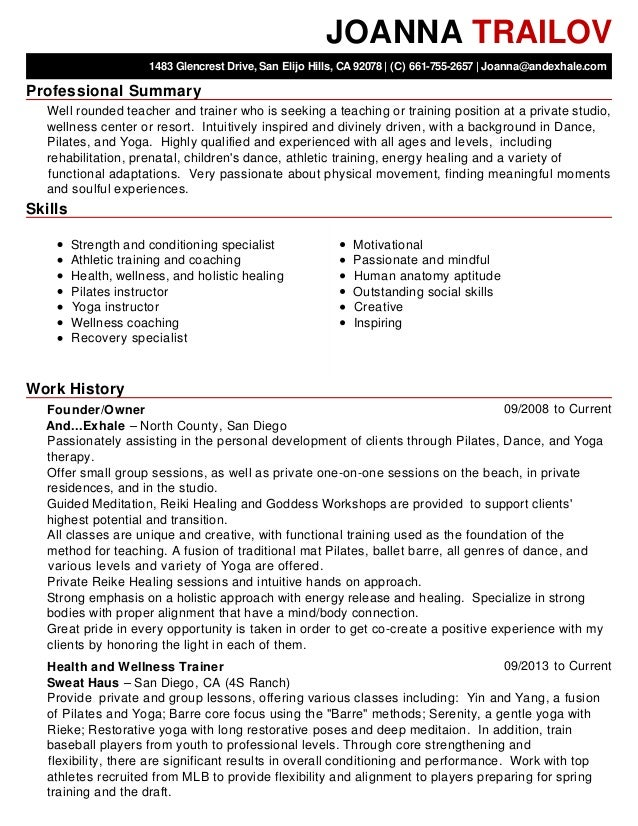 resume examples resume working till now pilates instructor resume ...